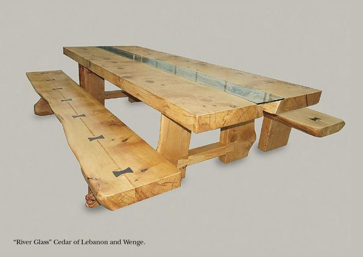 'River Glass' Cedar Banquet Table with Benches - an exquisite Cedar of Lebanon banquet dining table & benches (seats 16) designed with dovetail joint legs & butterfly keys. Hand crafted in Gloucestershire, UK.