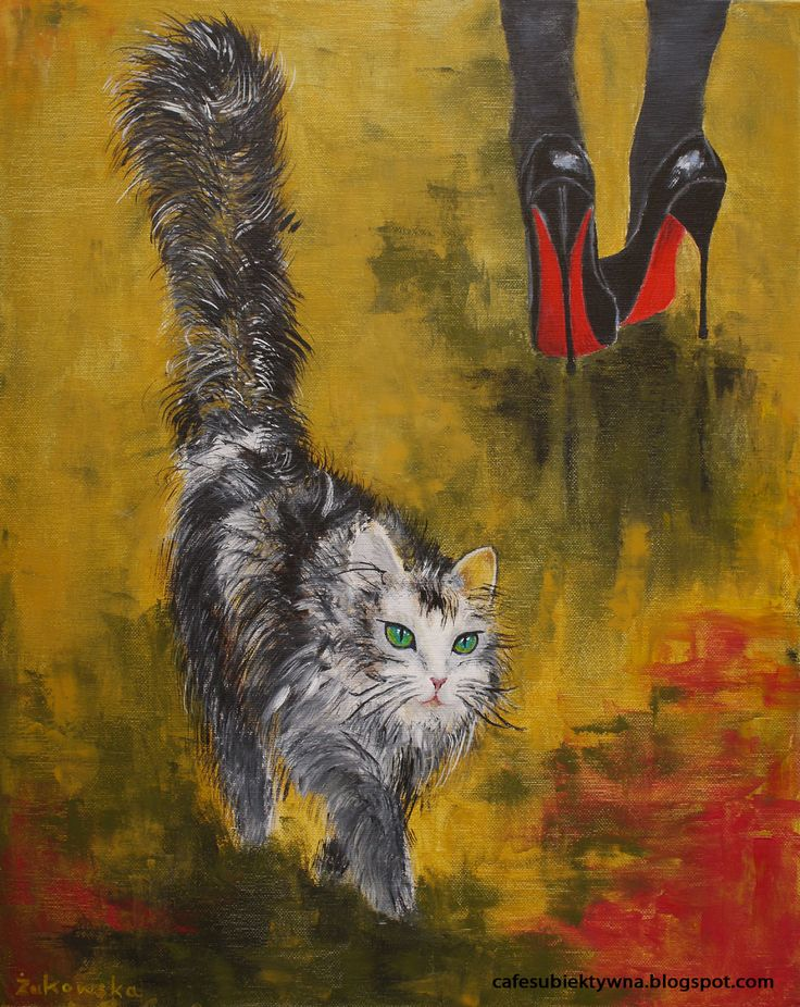 A cat and high heels II - oil on canvas, Justyna Żukowska