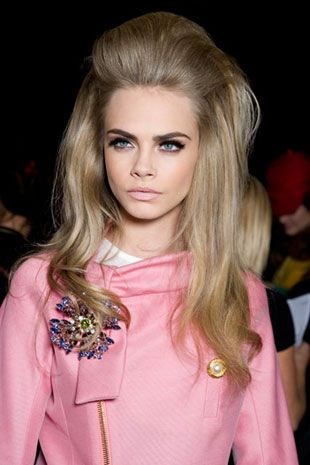 Cara Delevingne rocking a beehive at a DSquared fashion show.   #bouffant