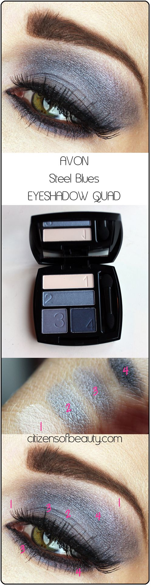 AVON Steel Blues eyeshadow quad copy Avon Eyeshadow Quads: Shockingly Good