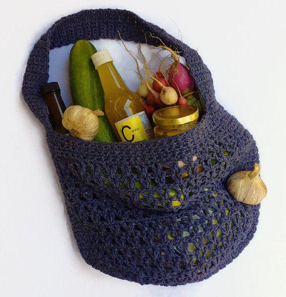 Market Bag upcycled yarn crochet string bag eco by TigsTogs