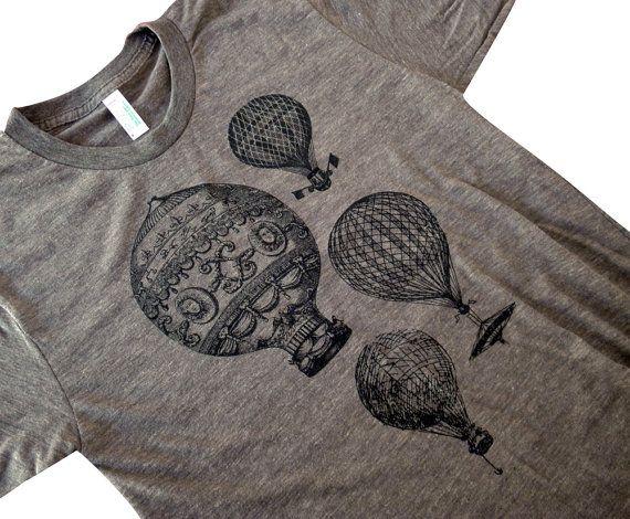 Mens T-Shirt - Vintage Hot Air Balloons American Apparel Mens American Apparel Shirt - Available in sizes S, M, L, XL. $18.00, via Etsy.