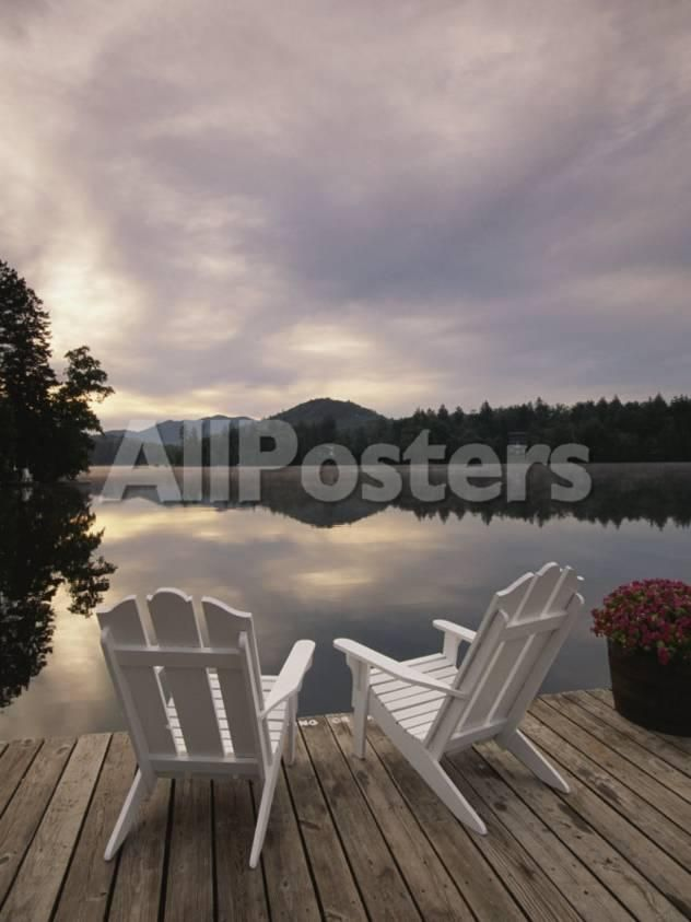 Pair of Adirondack Chairs on a Dock at the Mirror Lake Inn by Rainer Mirau Landscapes Photographic Print - 30 x 41 cm