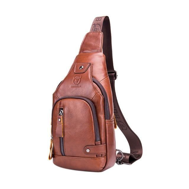 Men Leather USB Charging Chest Sling Pack Cross Body Shoulder Bag Sport Satchel