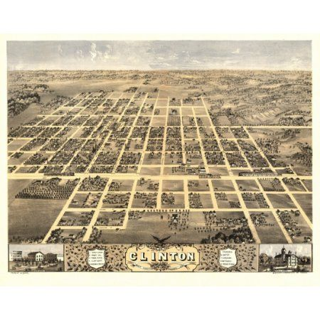 Vintage Map of Clinton Illinois 1869 DeWitt County Canvas Art - (18 x 24)
