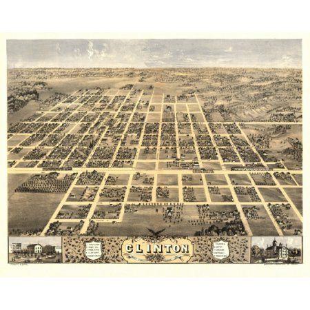 Vintage Map of Clinton Illinois 1869 DeWitt County Canvas Art - (18 x 24)