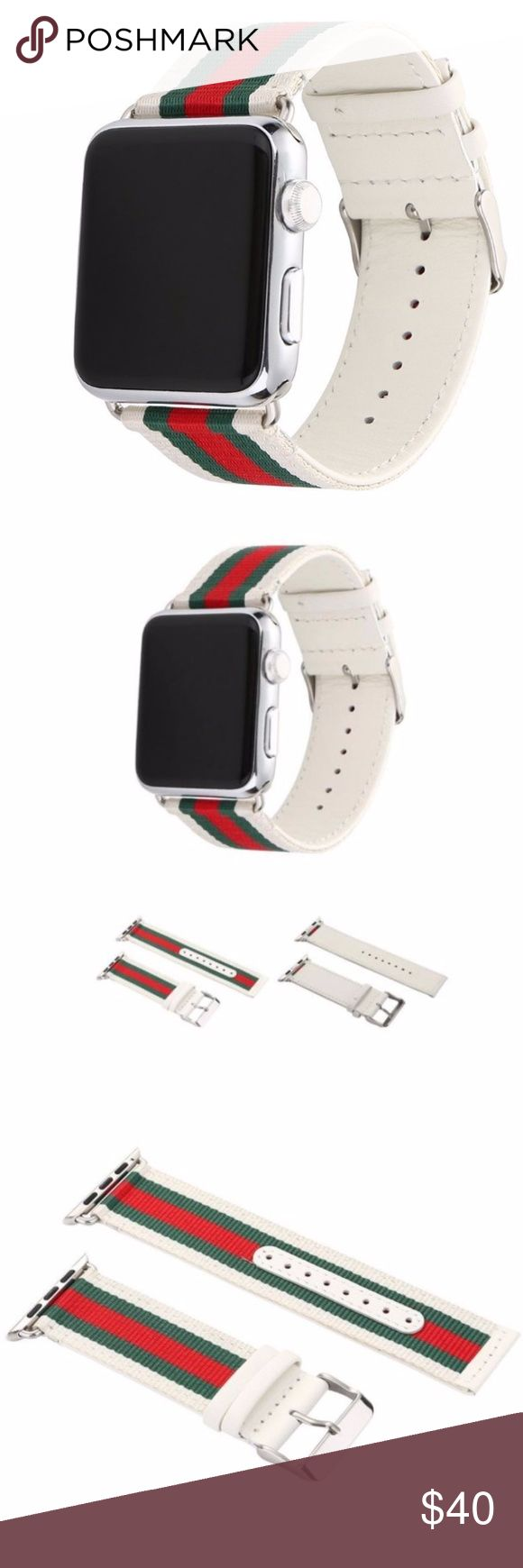 Gucci Pattern Apple Watch Band 48mm and 38mm These luxury designer bands are handmade with luxury quality materials. The bands are designed for both men and women of all ages. The installation is very simple and can be done in seconds. You have the option to change the connector to other colors that may closely match the color of your watch. These bands are sure to be a discussion piece when worn around friends. Accessories Watches