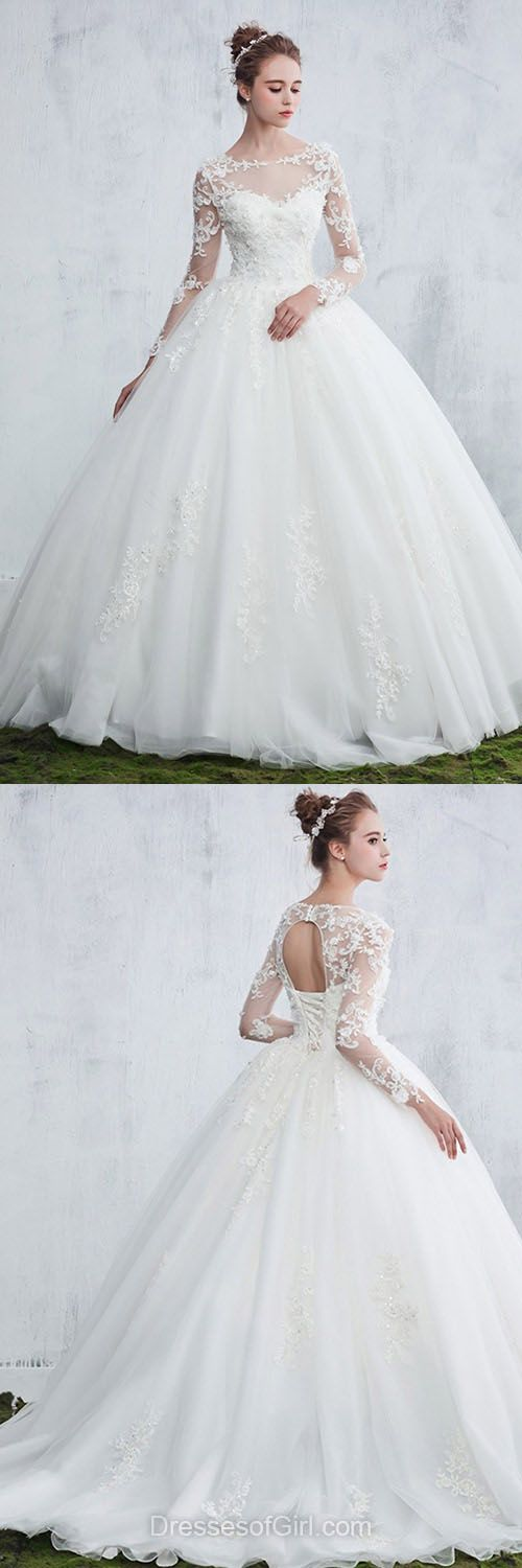 Beautiful Ball Gown Wedding Dresses, Scoop Neck Tulle Bridal Gowns, Appliques Lace Long Sleeve Wedding Dresses, White Long Wedding Dress