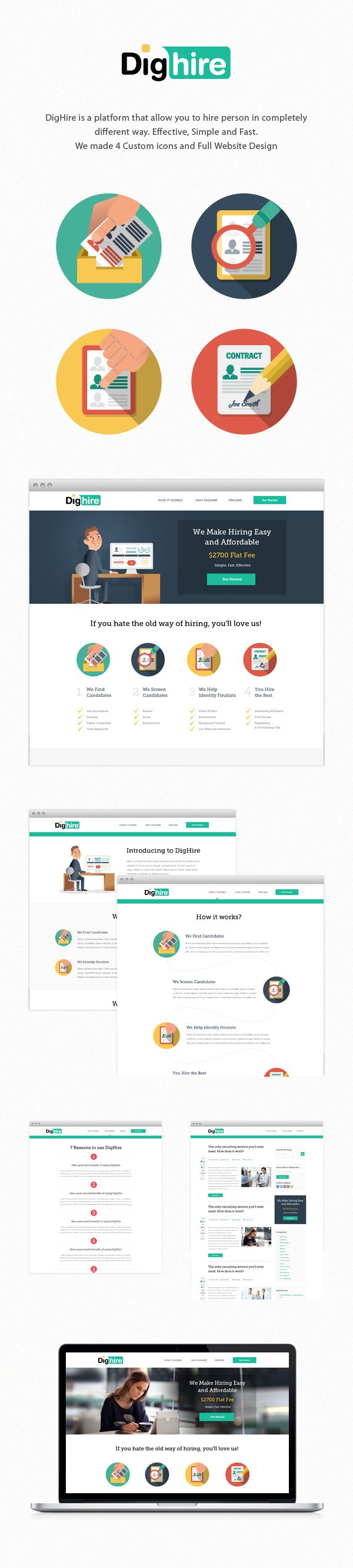 DigHire Website Design by Tomek Nowak, via Behance