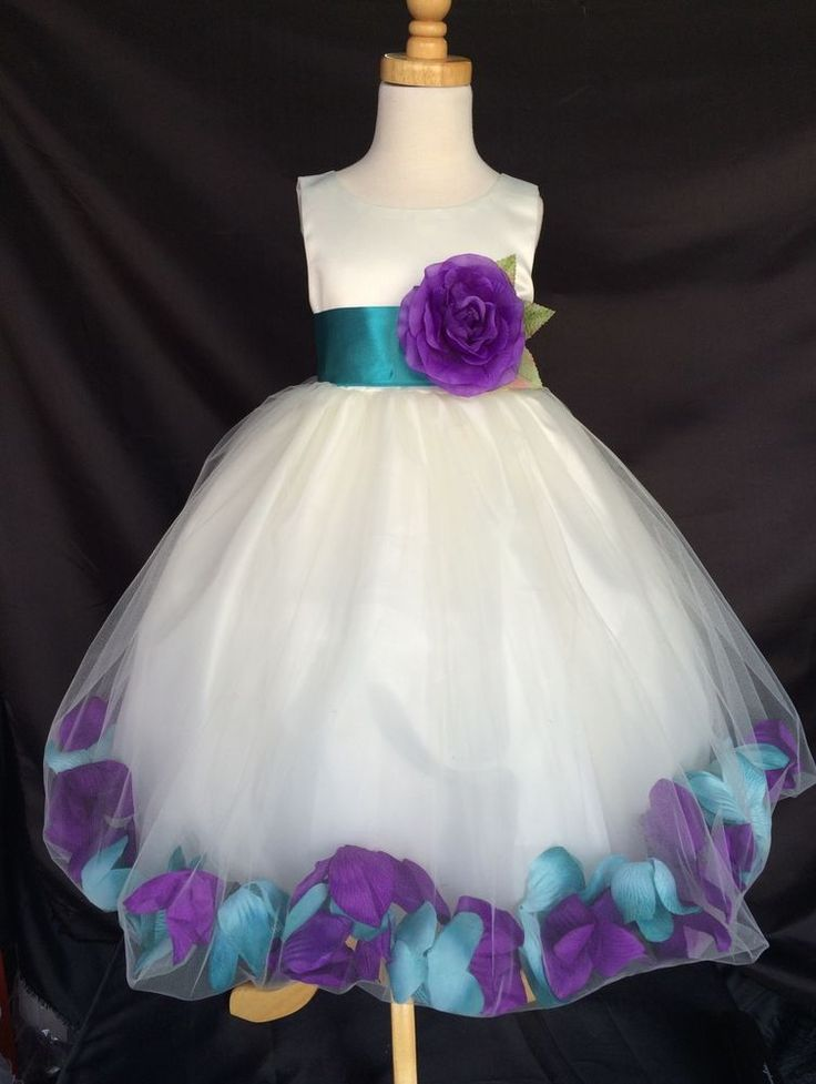 Mardi Grass Ivory Flower Girl Bridesmaids Mixed Petal Teal & Purple Girl Dress in Clothing, Shoes & Accessories, Wedding & Formal Occasion, Girls' Formal Occasion | eBay