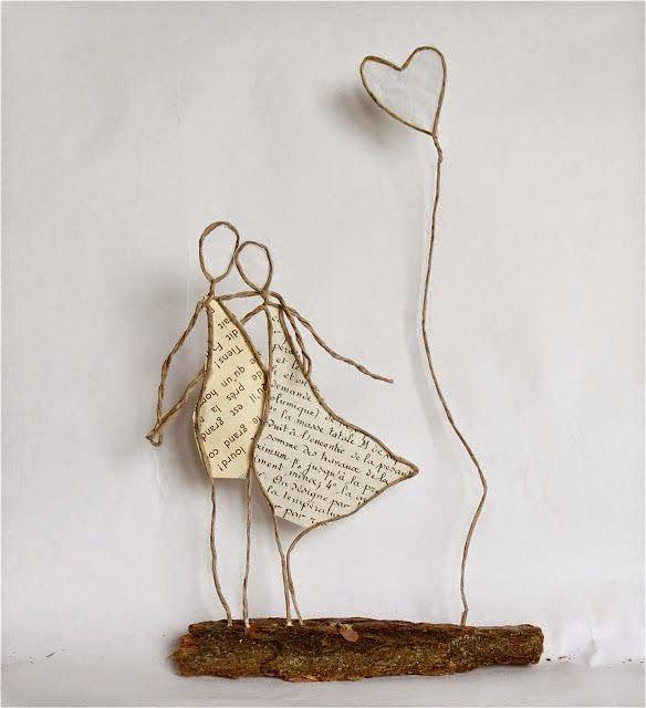 I like the idea of wire, bark (or other mounting) and paper - can use this will all sorts of shapes - especially flowers, birds ... 16 ideias de como fazer artesanatos para decoração com arame