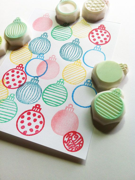 Christmas bauble rubber stamps | pattern hand carved stamps | diy christmas + scrapbooking