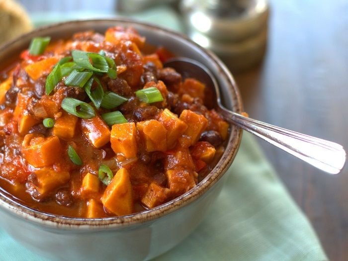 Smoky chipotle peppers, savory black beans, tender sweet potatoes, and ...