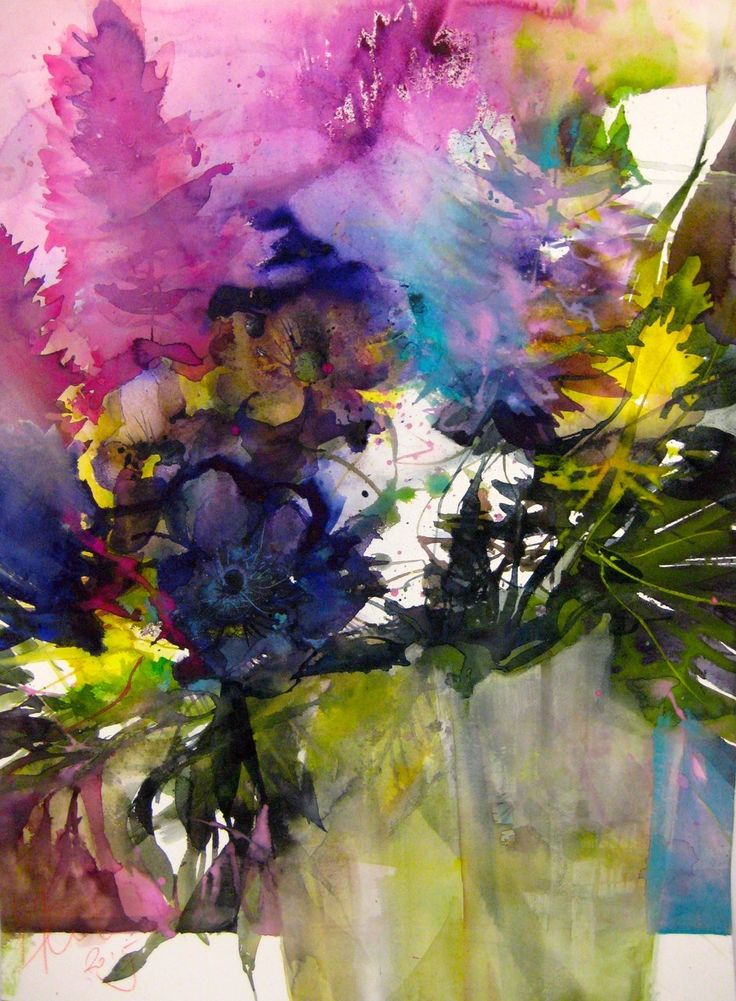 37 best images about artist watercolor elke memmler on for Abstract watercolour flowers