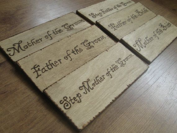 Wedding Chair Signs (set of 6) or Church Pew Markers  Rustic Wedding Outdoor Wedding Seating plan