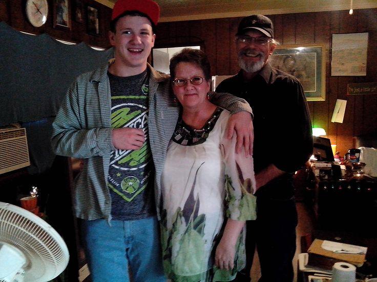 Grandson Austin, wife Carolyn and Steve himself. Christmas 2015