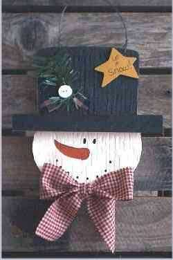 Snowman Christmas Crafts - Wood Snowball the Snowman Pattern