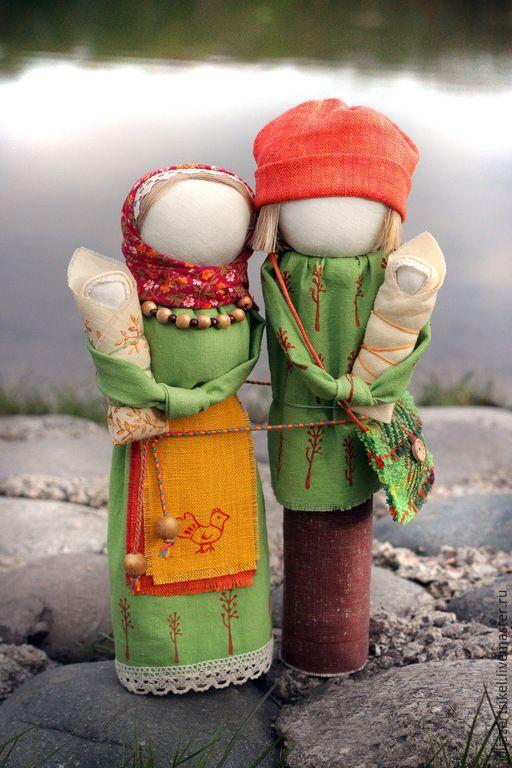 Купить Неразлучники Семья - зеленый, желтый цвет, оранжевый цвет, обереги в подарок, оберег для семьи
