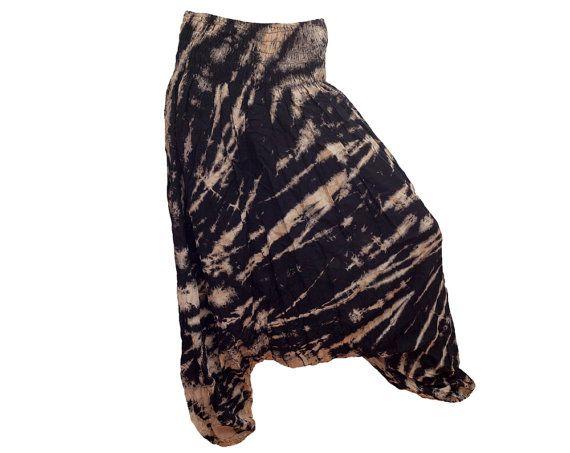 Black Tie Dye Thai Harem Pants