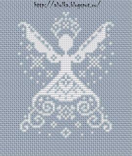 cross stitch angel with crown