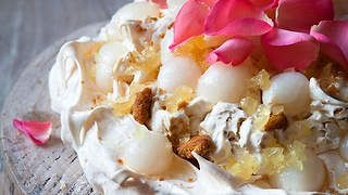 Lychee and ginger pavlova recipe : SBS Food