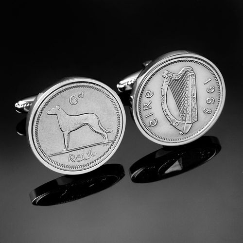 Irish Cufflinks including Irish Flag, 5p & 10p coins and Celtic Shield, bull, salmon, tri-colour, Cufflinks - from Irish Coin Cuff Links