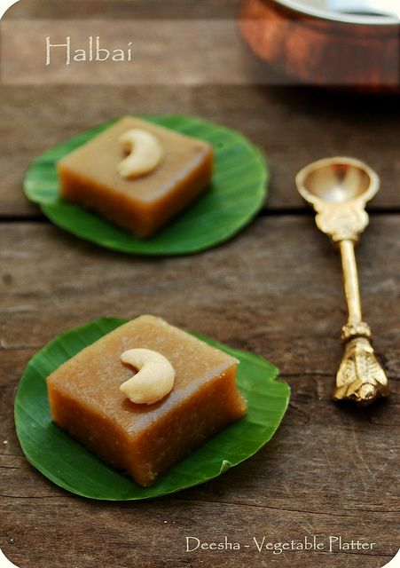 Halbai is a cross between halwa and burfi. It is spread on a greased plate and cut into pieces like burfi but the consistency is soft, almost like halwa.