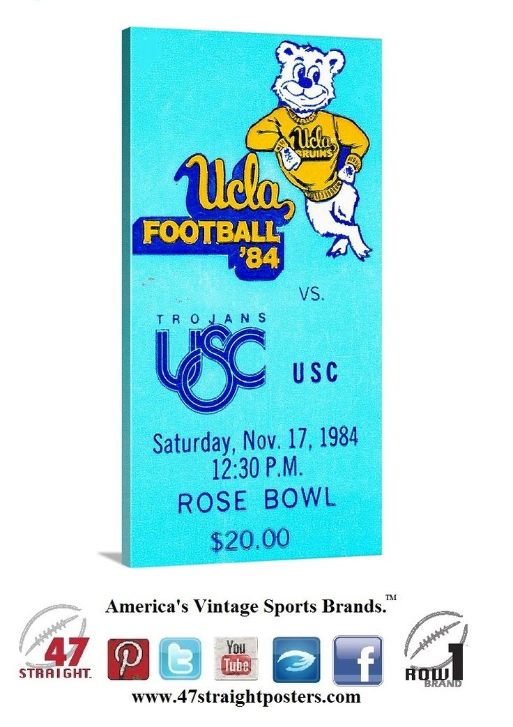1984 #UCLA #Bruins vs. #USC #Trojans #collegefootball ticket stub art on canvas. #47straight #row1 #vintage #sports #art #gameroom #mancave #giftideas #sports #LA #LosAngeles #California