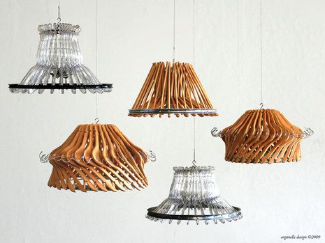 Recycled Hanger Lamp » Curbly | DIY Design Community - maybe for stands and chandeliers