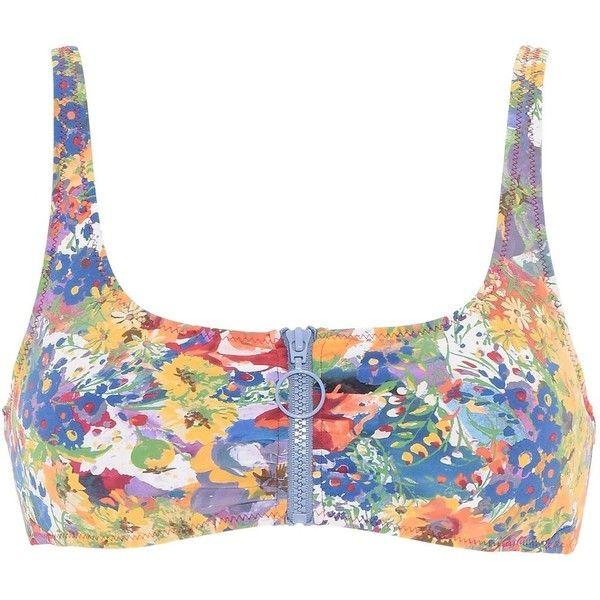 Stella Mccartney Floral Print Bikini Top ($140) ❤ liked on Polyvore featuring swimwear, bikinis, bikini tops, multicolour, padded bikinis, padded bikini tops, zip front bikini, zip front swimwear and floral swimsuit top