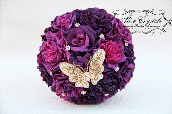 Brooch bouquet , purple bouquet, purple wedding, handmade flowers