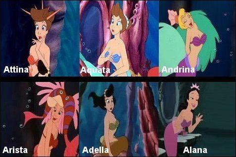 У Ариэль шесть сестер Andrina, Arista, Aquata, Adella, Alana и ...
