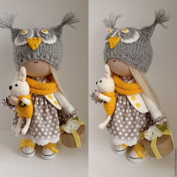 Купить Совушка - лимонный, тыквоголовка, кукла ручной работы, кукла, кукла в подарок, кукла интерьерная
