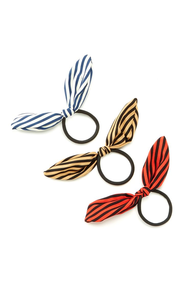 Natasha Accessories Striped Bow Pony Tail Holders//