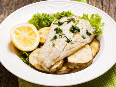 Baked Cod with Roasted Potatoes