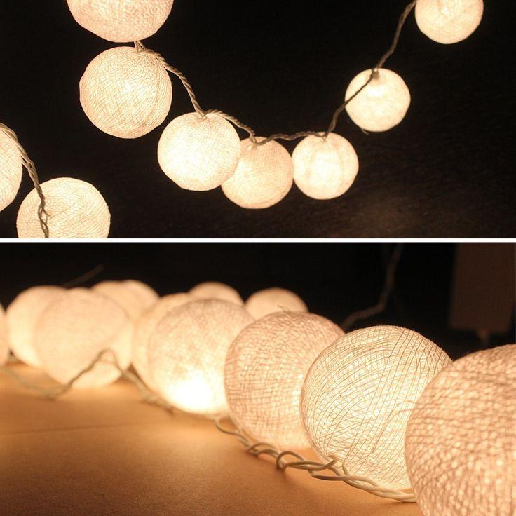 Cmyk de long guirlande lumineuse de boules de coton 20 led guirlande lumineuse intérieure blanche ac