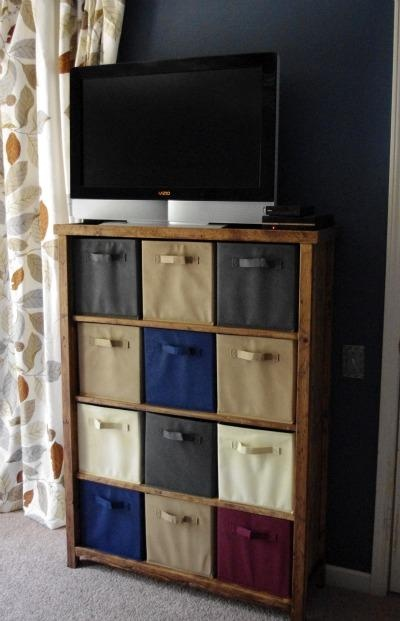 DIY storage....cute idea for small space  Make ur own shelf instead of buying the one with the squares