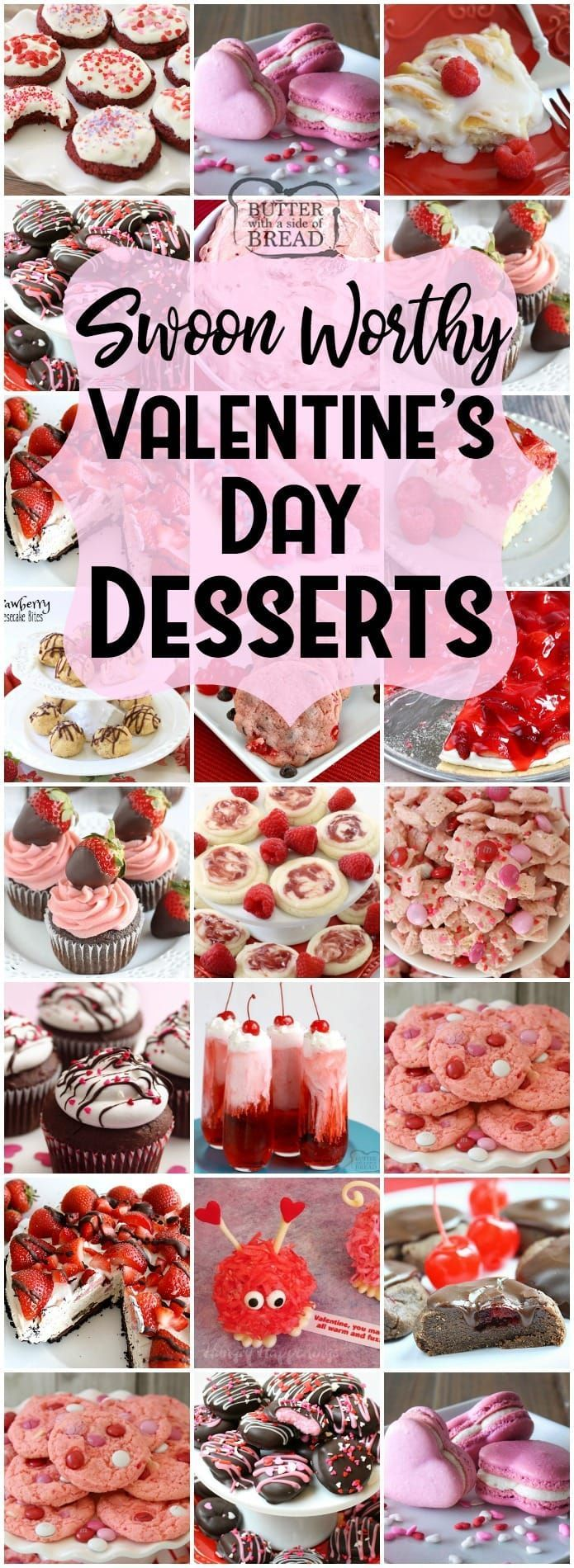Easy Valentine's Day Desserts perfect for your special someone and guaranteed to make him or her swoon! Cookies, cakes, strawberry pies, chocolate pretzels and more #Valentine's Day #desserts for everyone. Lots of class party ideas! Butter With A Side of Bread