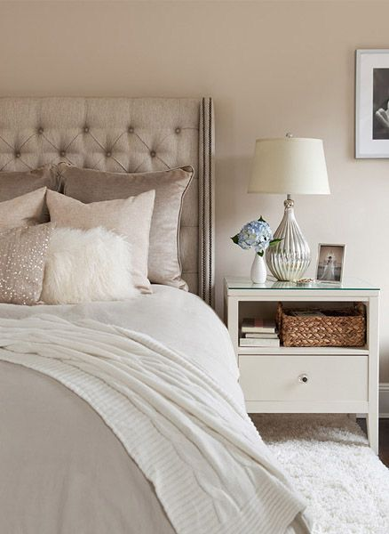 White linen and natural colour with brown and grey accents! #InteriorDesign…                                                                                                                                                                                 More