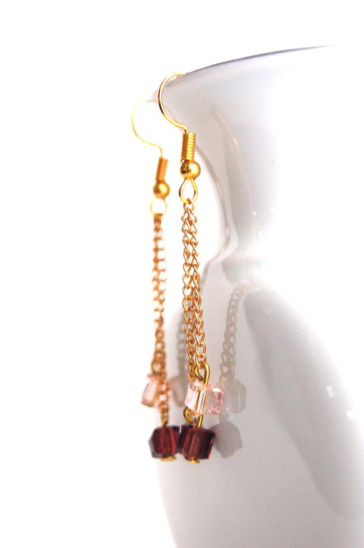 Crystal Glass Dangle Earrings