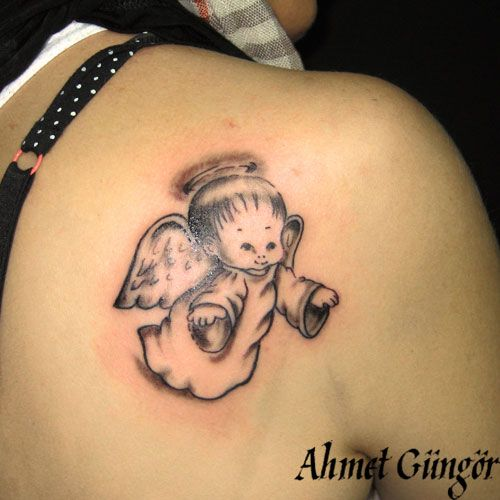 Baby Wolf Tattoos | baby-angel-cupid-tattoo-bebek-melek-dövmesi