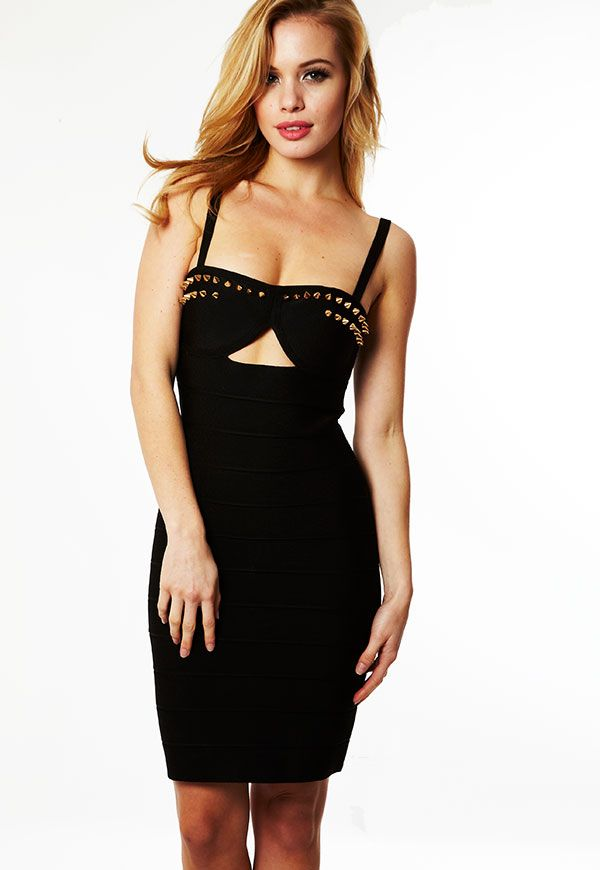 Ropa: vestidos de Vendaje: Negro 'Savannah' vestido tachonado Bandage