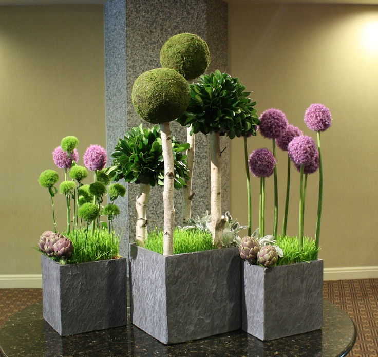 """""""The Park"""" Fantasy """"trees"""" of allium, green dianthus,  pittosporum & moss orbs cast shade upon a wheat grass """"lawn"""". Boarder plantings of artichokes and dusty miller complete the industrial chic look."""