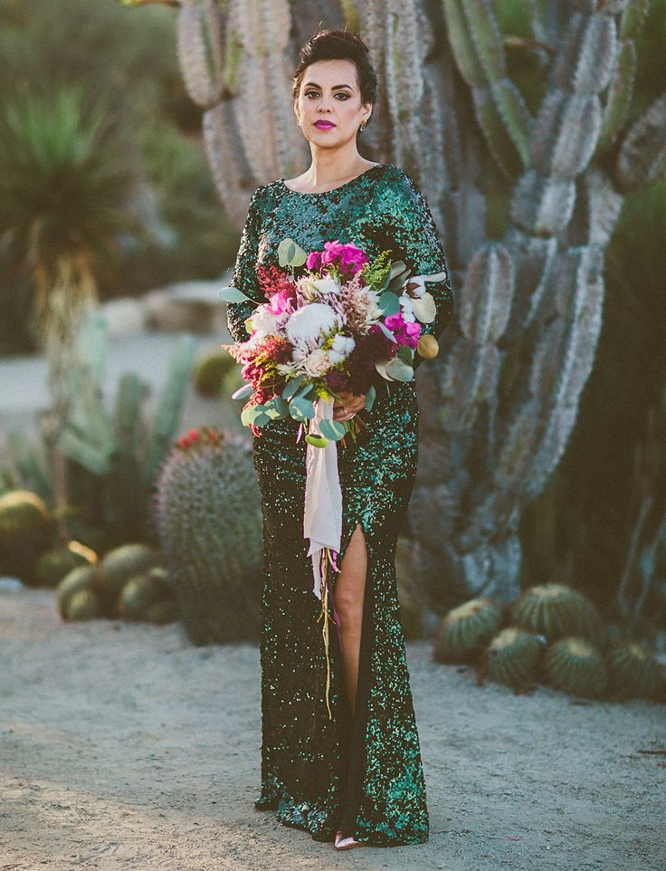 desert wedding/ mid century hotel reception - emerald sequins, fuchsia blooms, and gold marbling details