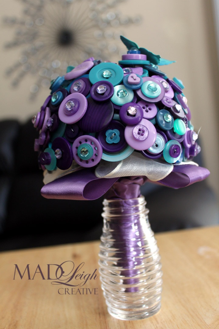 Purple and Aqua button bouquet bridal party bouquet teal. $41.00, via Etsy.