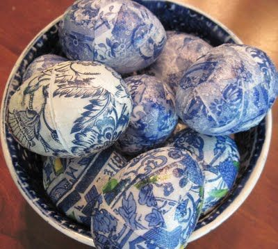 Blue Willow Eggs  These eggs were made with a little mod podge and some blue and white napkins! While it looks like she used plastic eggs, the technique would also work with blown chicken eggs.  Image Photo Credit: Town & Country Mom