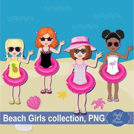 Beach Clipart Little Girl Clipart Summer Clipart Etsy Beach Clipart Girl Clipart Scrapbook Images