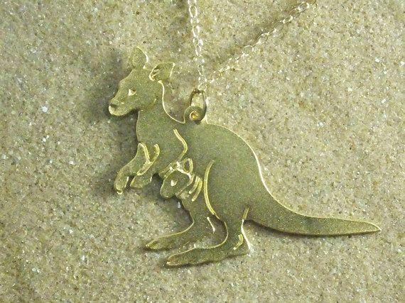 KANGAROO necklace,  baby shower, new mom gift, new mom jewelry, new mom necklace, mother necklace, gold necklace ,Australia national animal