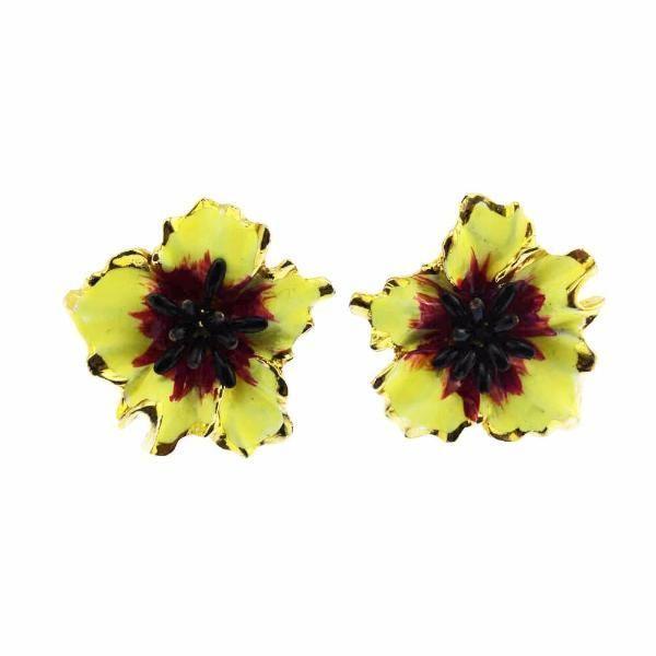 Vendome Yellow Enamel Flower Earrings