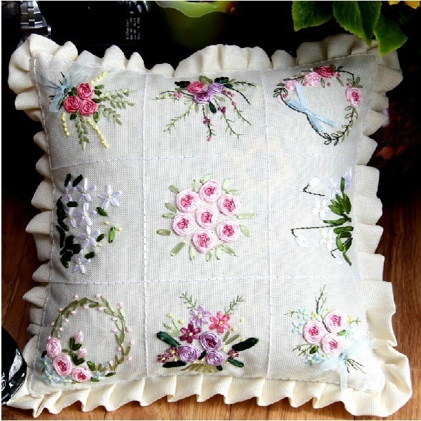Ribbon embroidery pillow kit flowers in the garden cm